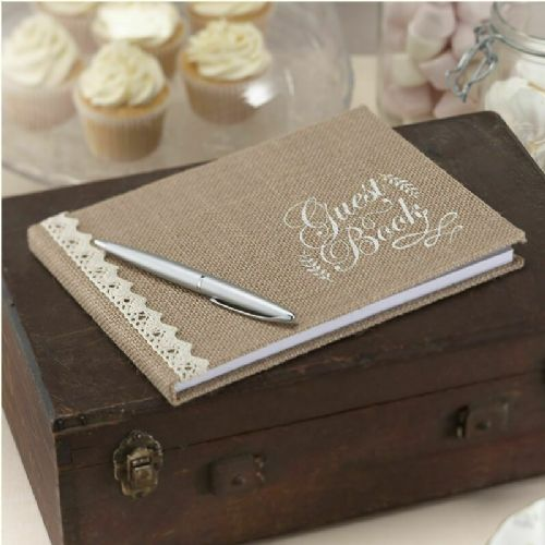 HESSIAN & LACE GUEST BOOK